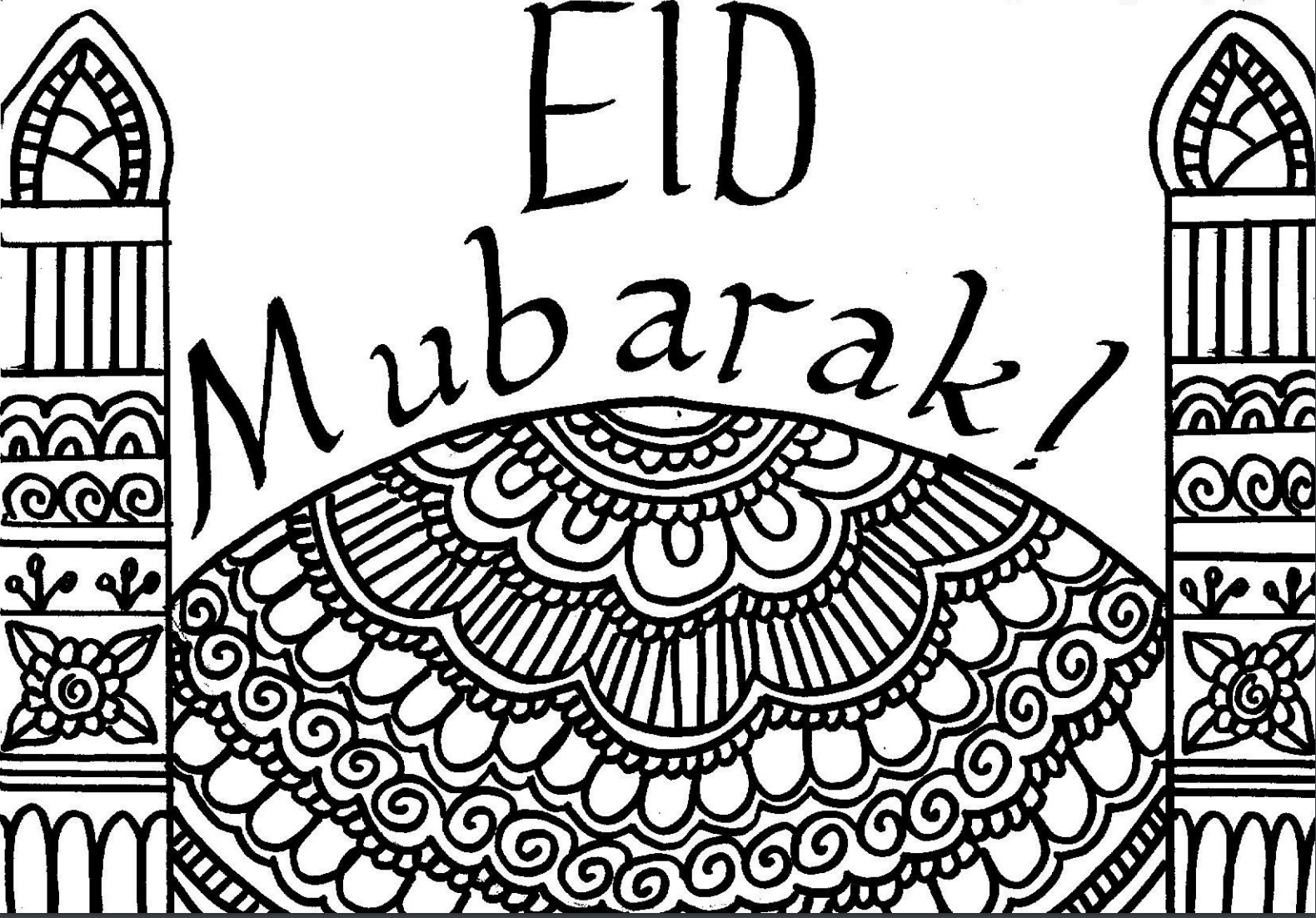 eid coloring pages - ramadan day 28 free colour in eid card muslimah bloggers
