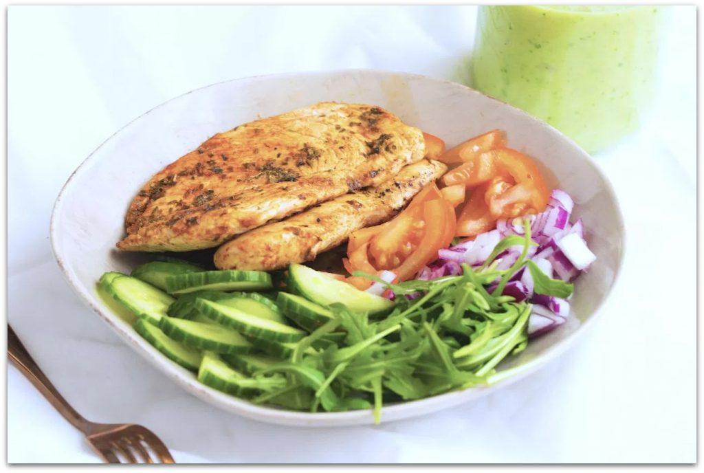 Simple Chicken Salad with Avocado Dressing