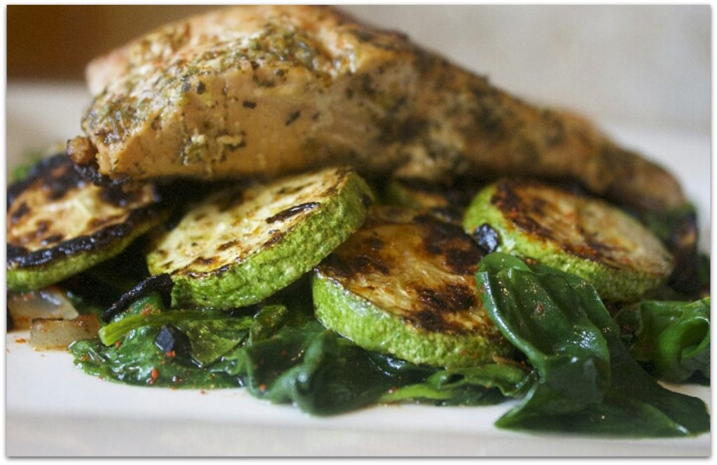 roasted salmon with baby kale and zucchini