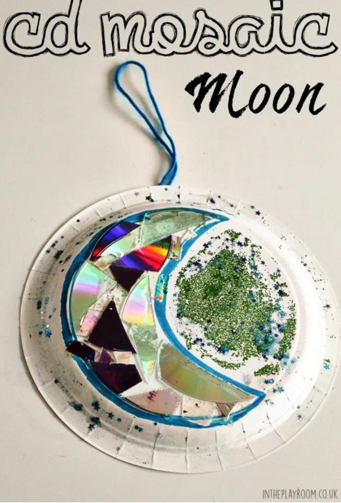 CD mosaic Moon Craft
